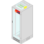 IT rack cabinets conforming to IP41 air-tightness standard fitted with automatic air-tightening unit and extinguishing system based on AGC Master® and AGC Slave® Extinguishing Apparatuses