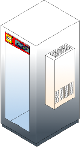 Air conditioned industrial IT rack cabinet IP54 with an installed ventilator
